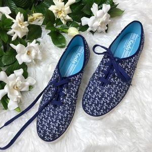 Navy Blue White Ivy Floral Canvas Classic Keds 9